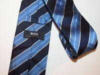 Hugo Boss Tie Blue Stripe Woven Jacquard Designer Silk Necktie Mens Necktie Mens