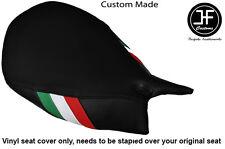ITALIAN FLAG BLACK VINYL CUSTOM FOR DUCATI 1199 PANIGALE FRONT SEAT COVER ONLY