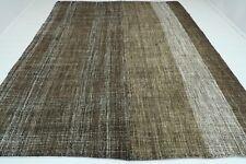 """Vintage Turkish Natural Wool Rugs Handmade Ethnic Floor Brown Kilim Rug 99""""x120"""""""