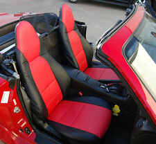MAZDA MIATA 2001-2005 BLACK/RED LEATHER-LIKE CUSTOM MADE FIT FRONT SEAT COVERS