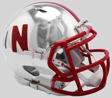NEBRASKA CORNHUSKERS NCAA Riddell SPEED Authentic MINI Football Helmet CHROME