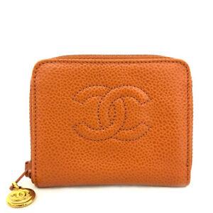 CHANEL CC Logo Orange Leather Zip Around Coin purse Wallet /E0433