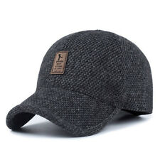 9ff3085755b41 Plaid Knitted Design Baseball Cap with Ear Flaps Winter Hats Dad Hat