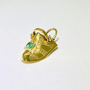 14K GOLD VINTAGE Yellow Gold Green Tourmaline Clog Bootie Charm Shoe  14kt