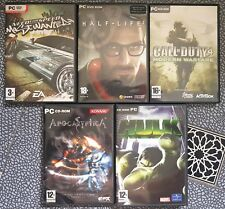 Lot de 5 Jeux PC DVD need for speed half life 2 apocalyptica hulk call of duty 4
