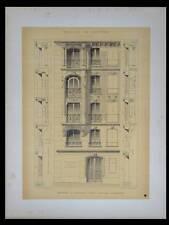 PARIS, 11 RUE BRIDAINE - 1895 - GRANDE LITHOGRAPHIE- BRUNEAU, ARCHITECTURE