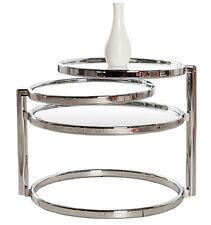 Beistelltisch Couchtisch PLATE 3 Art Deco Design Glas/chrom Retro NEU