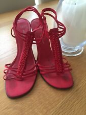 "New Look Strappy Red Sandal with elasticated ankle strap size 7 & 4"" heel"