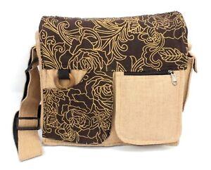 Crossbody Purse Brown Floral Print Boho Shoulder Purse Messenger Bag