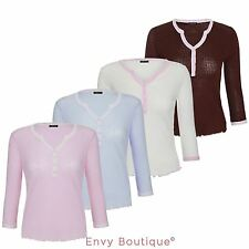Cotton V Neck Long Sleeve Women's Other Tops
