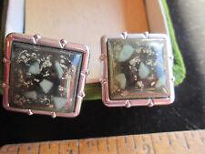 Vintage Retro Unisex Lucite Confetti Silver Tone Cufflinks Unmarked Collectible
