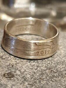 Coin Ring  Silver Quarter Dollar - M 1/2