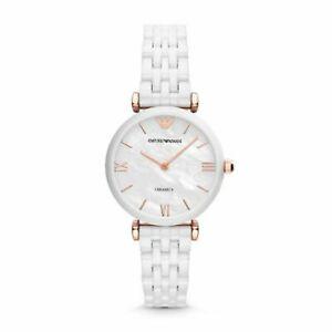 Emporio Armani Watch AR1486 Rose Gold & White Ceramic Ladies Watch