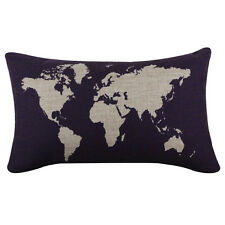 Navy Blue Dark World Map Geography Cushion Cover Pillow Case Gift Home Decor