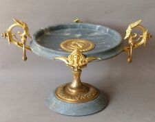 Coupe, Centre De Table De Style Empire. Marbre Gris Turquin Et Bronze Doré XIXe