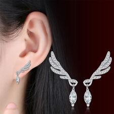 1 Pair Women Angel Feather Wing Earrings Rhinestone Hook Ear Stud Earrings Gifts