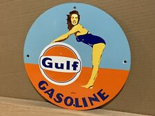 12in GULF GASOLINE PORCELAIN SIGN GAS PUMP PLATE Pinup