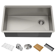 New listing Kore Workstation Undermount Stainless Steel 32 in. Single Bowl Kitchen Sink w/ I