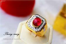 Yellow Baht Gold Plated Cz Red New Thai Gold Plated Men Ring Jewelry Thai Gold