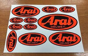 Arai stickers 11 Fluorescent Orange on Black quality printed & laminated helmet