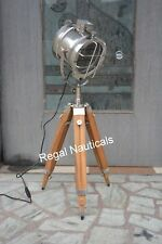 Designer Nickel Floor Searchlight Chrome Light Spotlight With Wooden Tripod