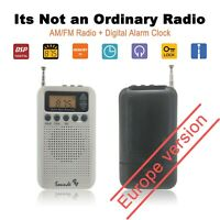 Portable Pocket AM FM Radio Mini Alarm Clock And Sleep Timer Digital SoundsB EW