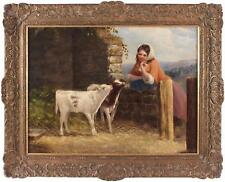 Edward Holmes Antique Oil Painting Country Girl Cattle Farm Signed