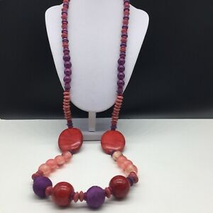 Chico's Purple Pink Red Chunky Beaded Long Statement Necklace Wood & Acrylic