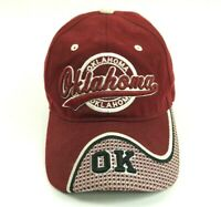 Oklahoma OK Embroidered Script Font Strapback Red Burgundy Hat Cap Bill One Size