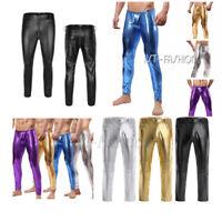 Cool Mens Shiny Leather Pants Trouser Skinny Moto Biker Tight Legging Clubwear