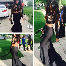 Black Two Pieces Evening Dresses Mermaid Long Prom Party Gowns Custom Made 2 4 6