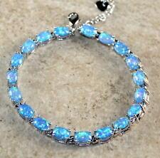 Silver Elegant Blue Fire Opal Oval Bracelet Woman Gift