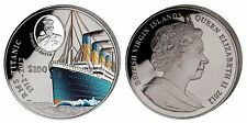 British Virgin Islands $100 Dollars,1,000g Silver w/Color Coin,2012,Mint,Titanic