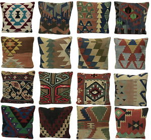 Luxury Wool Turkish Moroccan Colourful Pure Kilim Cushion Cover