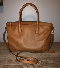 Lauren Ralph Lauren R.L.L Tan Brown Leather Crossbody Satchel HTF Style Bag