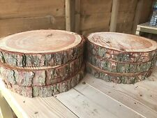 "6 Rustic logs approx 12"" (30cm) wedding / table centerpieces, cake stands"