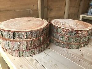 "6 Rustic logs approx 12"" (30cm) wedding table centerpieces with bark cake stands"