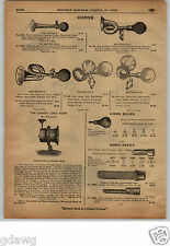 1913 PAPER AD Motorcycle Bulb Horn Bicycles Toe Clips Pedal