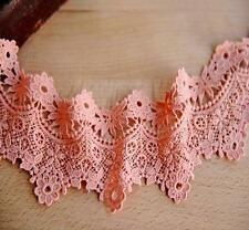 Beautiful Vintage Style Quality Guipure Floral Lace Bridal Rich Peach Pink 1M