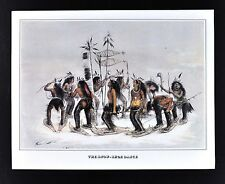 Currier & Ives Print - The Snow Shoe Dance - Chippewa Indians Winter - Vintage