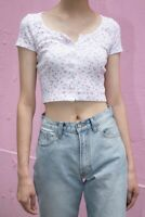 brandy melville crop cotton white/pink floral button up Zelly top NWT sz XS/S