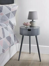 Modern Moden Wooden Grey Bedroom Bedside Side Table Unit Cabinet with Drawer