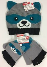 Toddler Raccoon Beanie Hat Mittens Matching 3+ Creatology New NWT Blue Gray