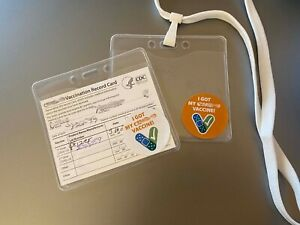 Vaccine Travel Card Protector & Lanyard (w/ White Sticker)
