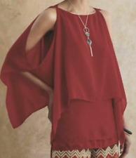 Women's Clothing Crimson Shannon 2 Pc by Ashro Sheer Cold Shoulder Overlay Sz 3X