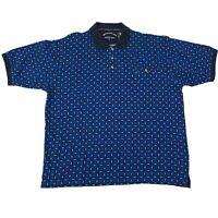 Wrangler Mens Size XXL 2XL Blue Geometric Print Short Sleeve Polo Shirt