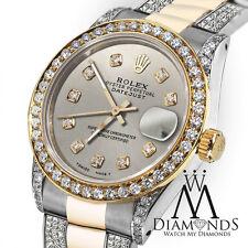 Ladies Rolex Oyster Perpetual Datejust 26mm Custom Silver set Diamond Dial