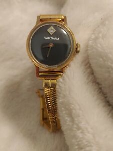 Waltham Women's Watch Diamond Black Face Gold Band Swiss Made Wind Up ~ Works!