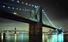 NEW YORK BRIDGE PONTE 2 QUADRO STAMPA SU TELA CANVAS +TELAIO VERNICE PEN. 60X100