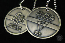 Set of 2 Qmx Serenity/Firefly Malcolm Reynolds Metal Dog Tag w Display Box